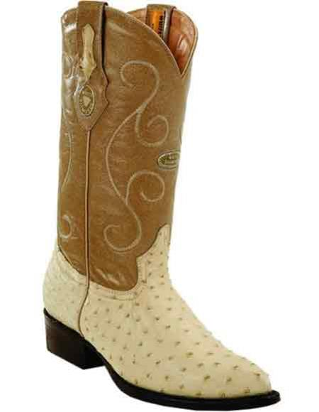 Men's Quill Ostrich Skin Bone J Toe Style Handcrafted Leather Boots