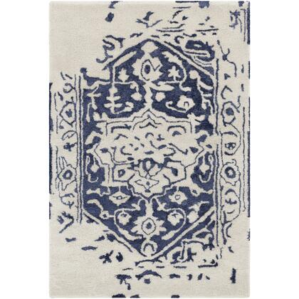Temple TML-1004 4' x 6' Rectangle Traditional Rugs in Dark Blue