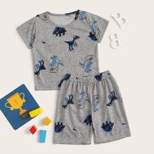 Kleinkind Jungen PJ Set mit Dinosaier Muster