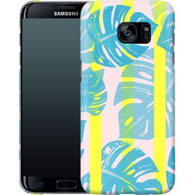 Samsung Galaxy S7 Edge Smartphone Huelle - Linocut Monstera Neon von Bianca Green