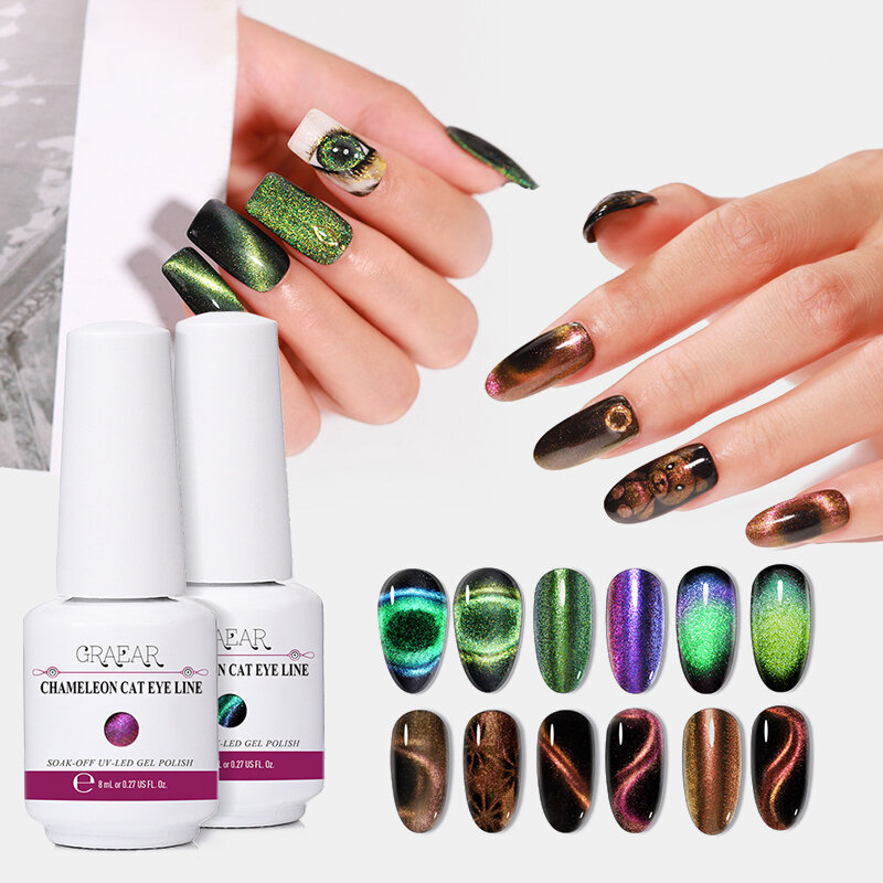 12 Colors Super Galaxy Cat Eye Gel Magnetic 5D Chameleon Cat Eye Starry Phototherapy Gel Nail Art
