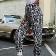 Pantalones Efecto De Serpiente Casual