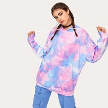 Tie Dye Drawstring Hooded Sweatshirt
