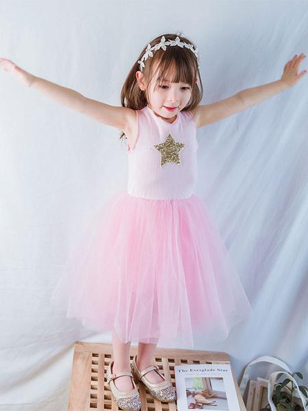 Milanoo Flower Girl Dresses Tulle Star Tutu Dress Sleeveless Short Kids Formal Dress