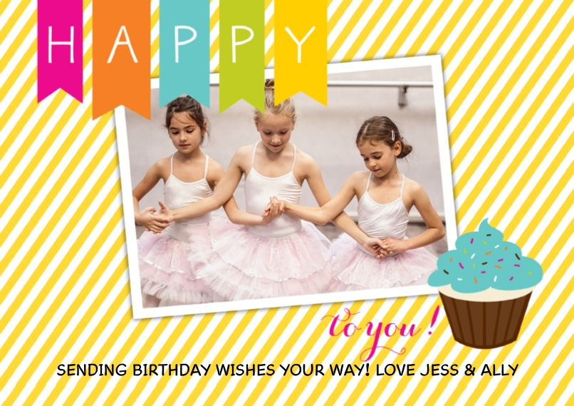 Kids Birthday Party Invites Flat Glossy Photo Paper Cards with Envelopes, 5x7, Card & Stationery -Sweet Stripes