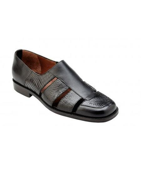 Mens Black Leather Genuine Alligator~Italian Calf Sandals