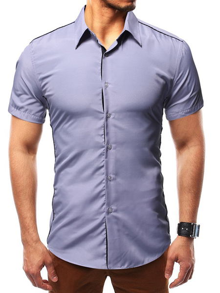 Yoins Men Summer Plain Button Front Classic Collar Shirt