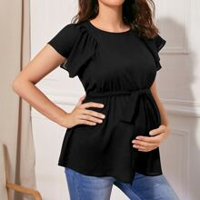 Maternity Butterfly Sleeve Belted Top