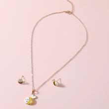 1pair Girls Cartoon Bee Earrings & 1pc Pendant Necklace