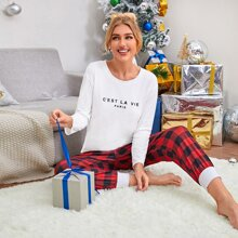 Letter And Buffalo Plaid Print Pajama Set