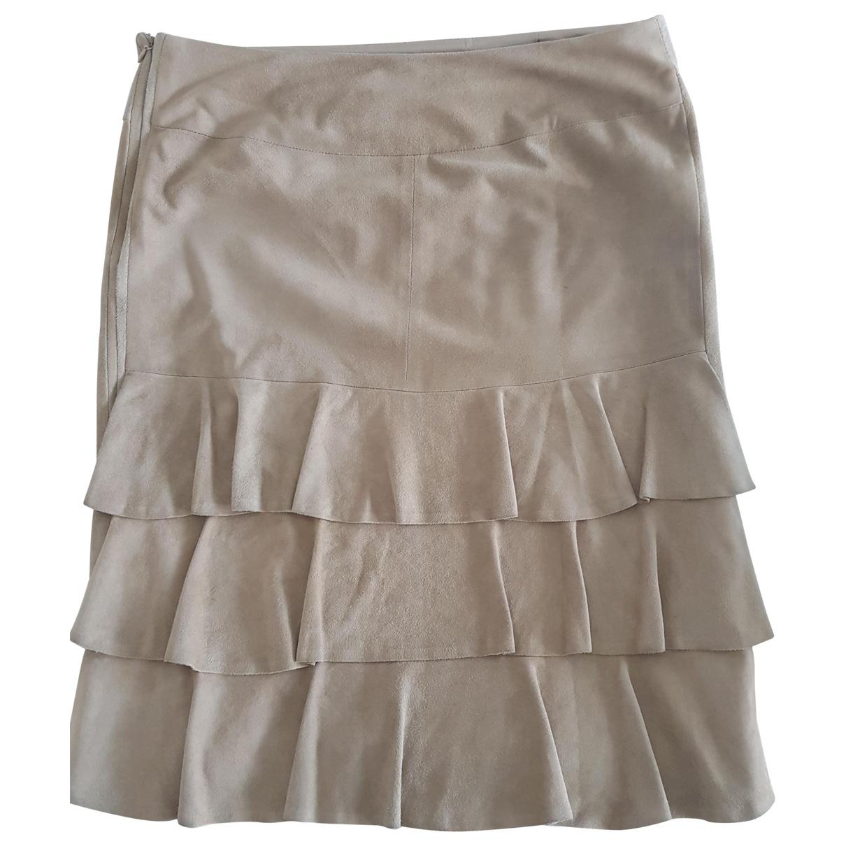 Valentino Garavani - Jupe   pour femme en cuir - beige