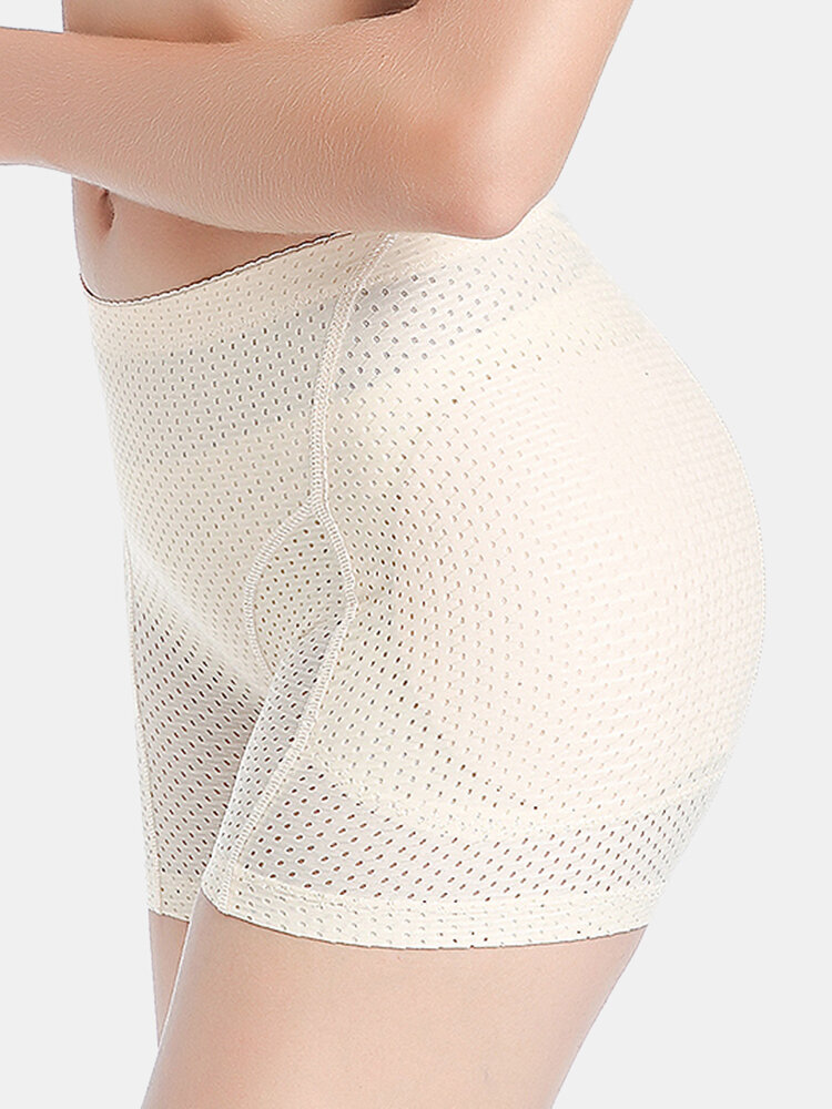 Women Hip Lift Mesh Breathable Elastic Panty Shapewear With Pads