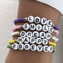 5pcs Letter Beaded Bracelet