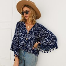 Fringe Cuff Ditsy Floral Blouse