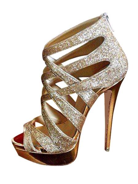 Milanoo Zapatos de noche dorados Glitter punta abierta con tiras de tacon alto Zapatos de fiesta Zapatos de sandalias