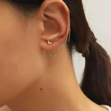 2pcs Heart Detail Threader Earrings