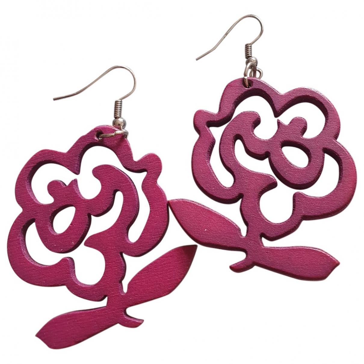 - Boucles doreilles Motifs Floraux pour femme en bois - rose