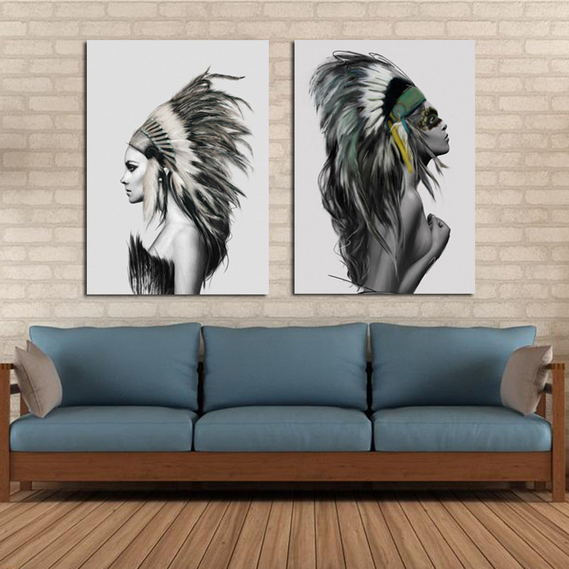 Hand Painted Combination Decorative Paintings Lovers Portrait Wall Art For Home Decoration