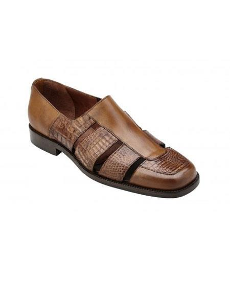 Men's Slip On Genuine Alligator~Italian Calf Antique Almond Shoes