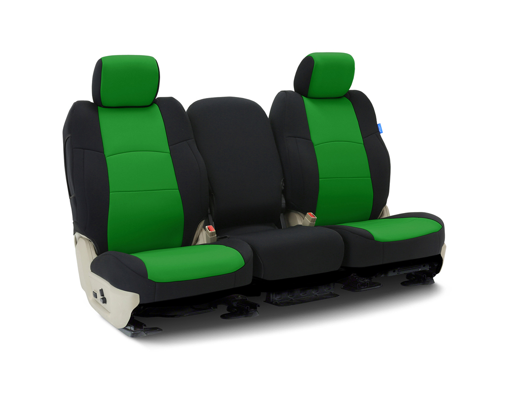 Coverking CSCF91CH9630 Custom Seat Covers 1 Row Neoprene Synergy Green   Black Sides Front Chevrolet Silverado 1500 2014-2018