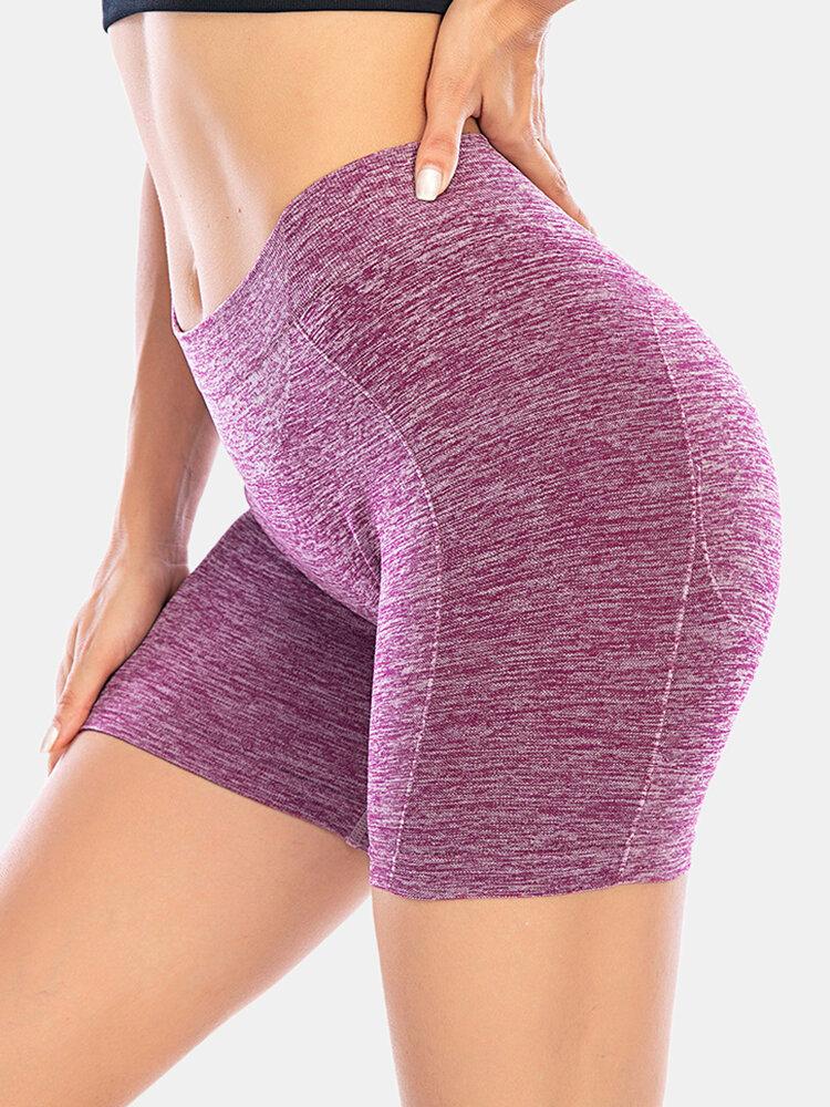Women Seamless Plain Hip Lifting Yoga Running Shorts