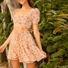 Puff Sleeve Ruched Bust Floral Crop Top & Skirt Set