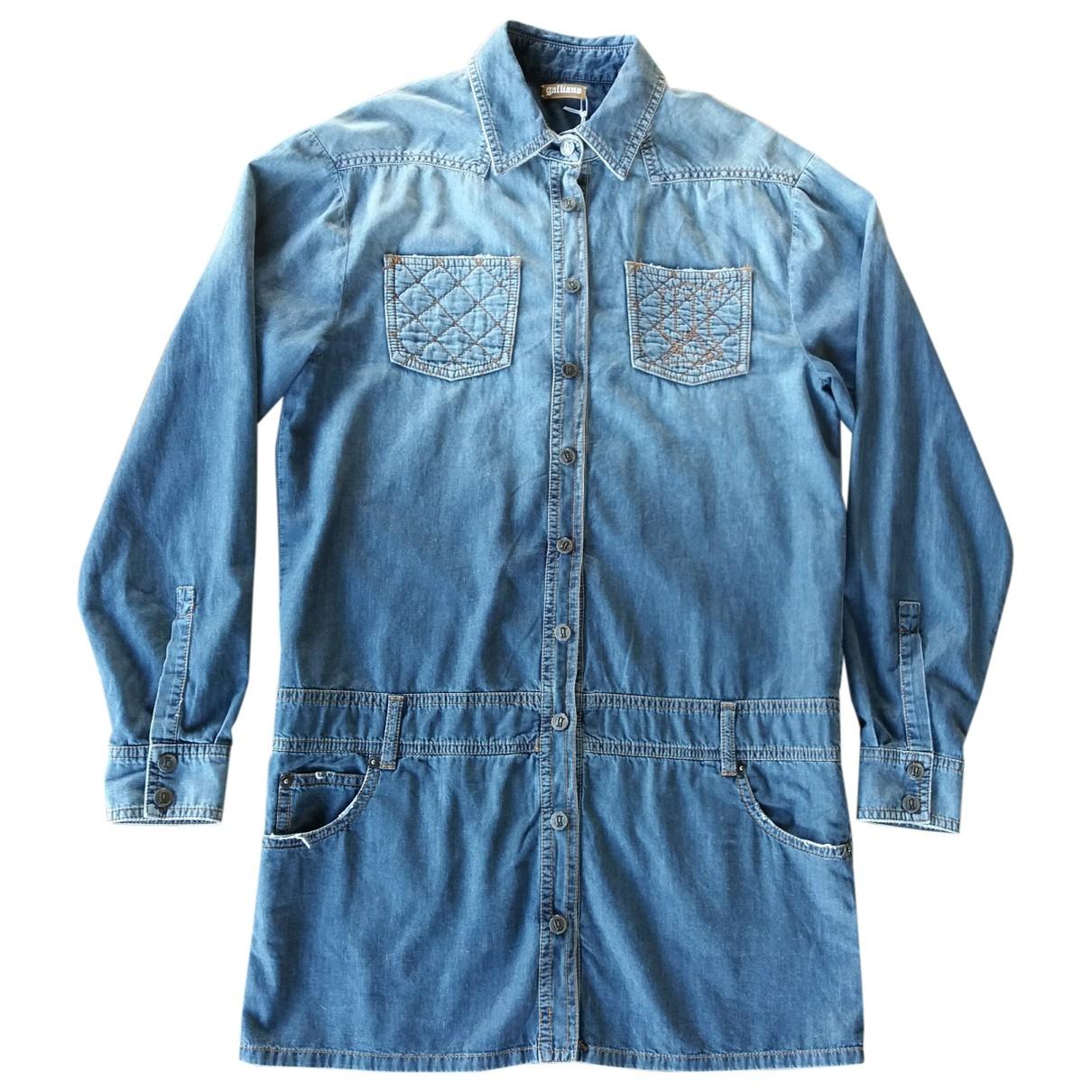 Galliano - Robe   pour femme en coton - bleu