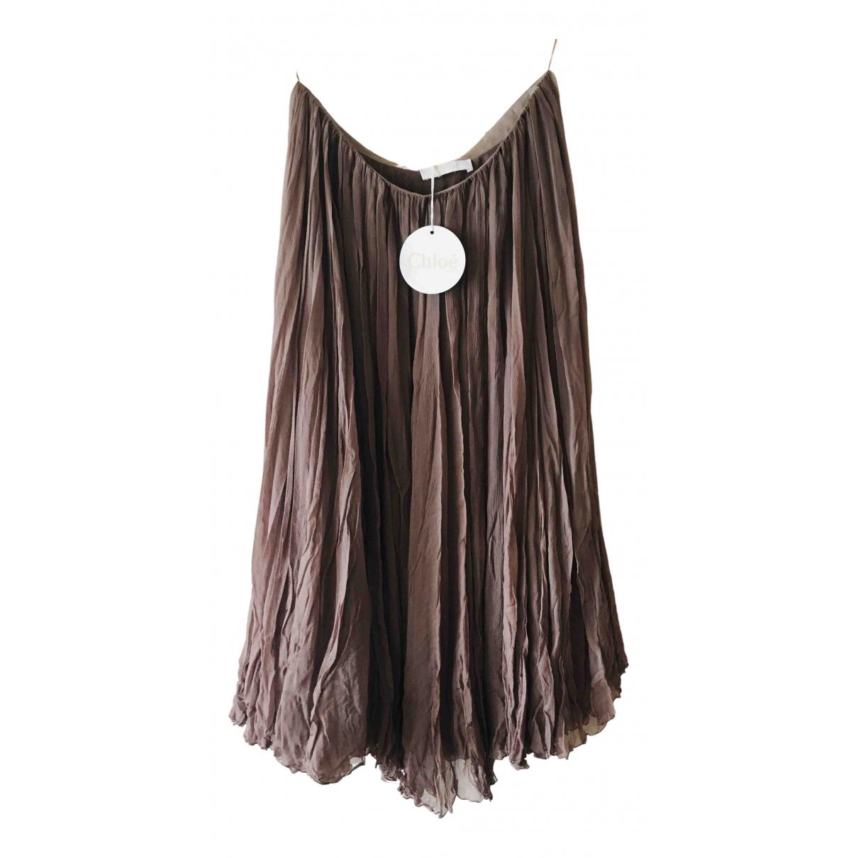 Chloé N Brown Silk skirt for Women 38 FR