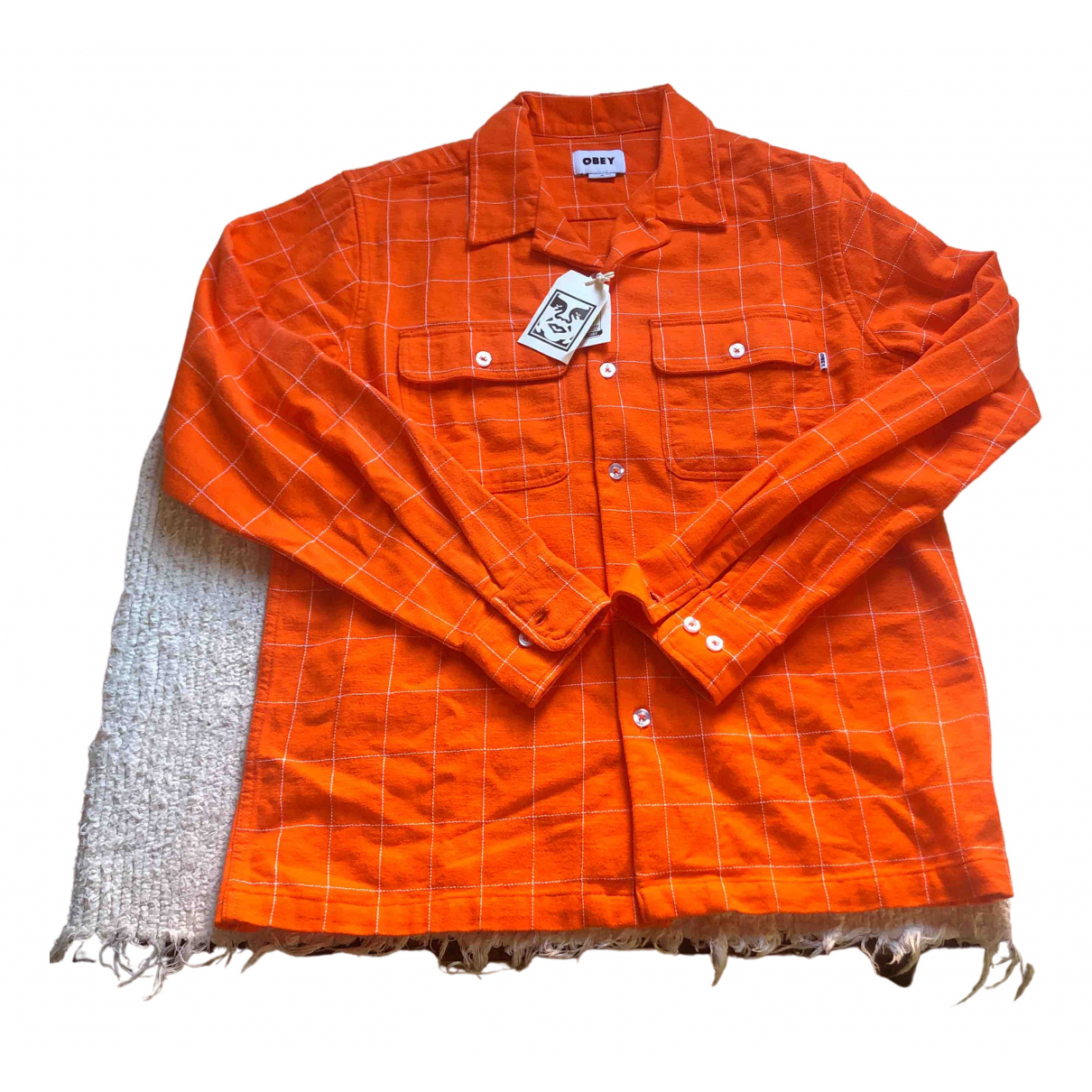 Obey - Chemises   pour homme en coton - orange