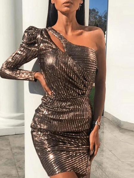 Milanoo Club Dress One-Shoulder Retro Long Sleeves Polyester Layered Coffee Brown Sexy Dress