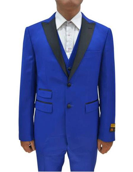 2 Button  Tuxedo Ticket Pocket  3 Pieces Flat Front Pants Blue