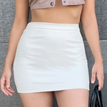 Solid PU Leather Mini Bodycon Skirt