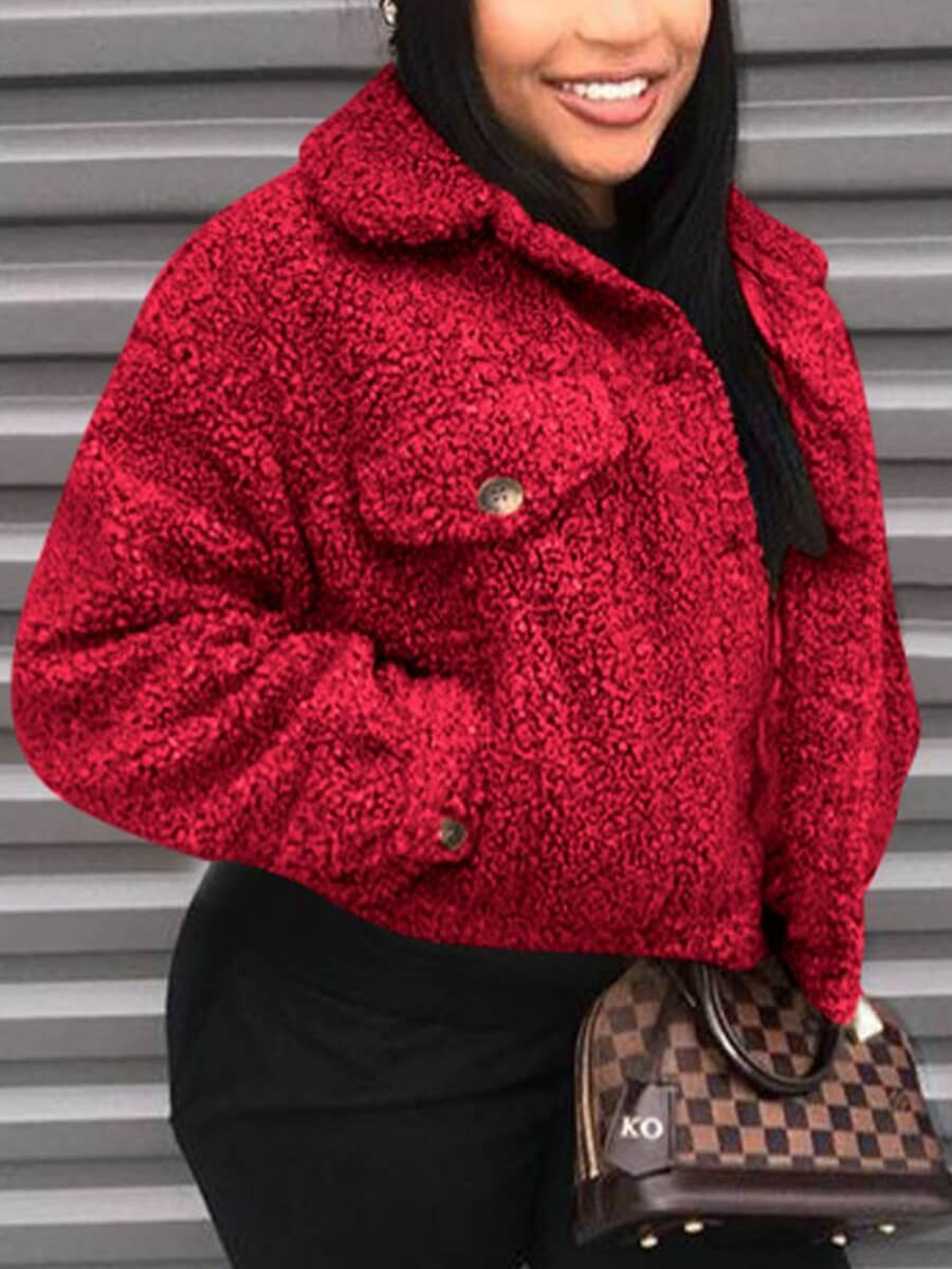 LW Lovely Casual Turndown Collar Pocket Patched Red Faux Fur