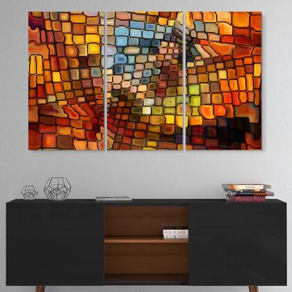 MT6043-3P Dreaming Of Stained Glass - Multipanel Abstract Metal Artwork - 36X28 - 3