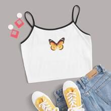 Camisole mit Schmetterling Muster