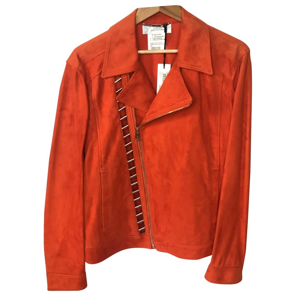 Versace \N Lederjacke in  Orange Leder