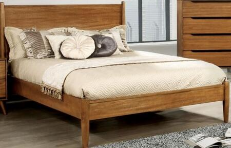 Lennart Collection CM7386A-Q-BED Queen Size Panel Bed with Mid-Century Style  Tapered Legs  Wooden Headboard and Wood Veneer Construction in Oak