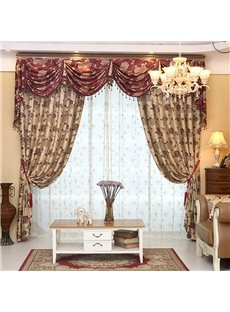 Elegant Double Side Jacquard Effect Curtain Panels For Living Room Custom Blackout Curtain Sets