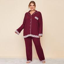 Plus Contrast Lace Detail Contrast Binding Top & Pants PJ Set