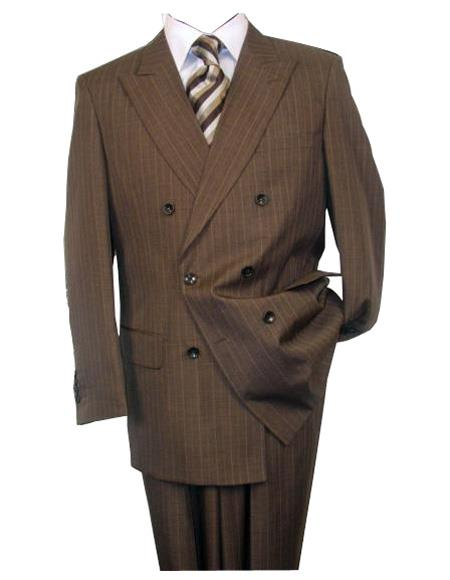 Men's Double Breasted Button Closure Wool Brown Peak Lapel Suit