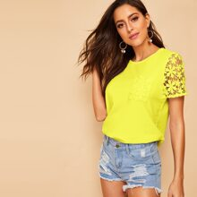 Neon Yellow Guipure Lace Sleeve and Pocket Top