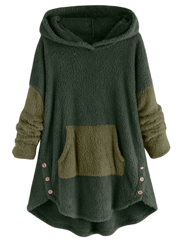 High Low Front Pocket Fluffy Faux Shearling Plus Size Hoodie