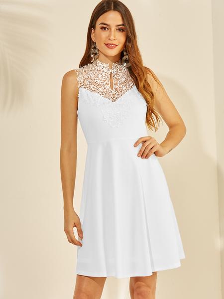 YOINS White Backless Design Halter Sleeveless Mini Dress