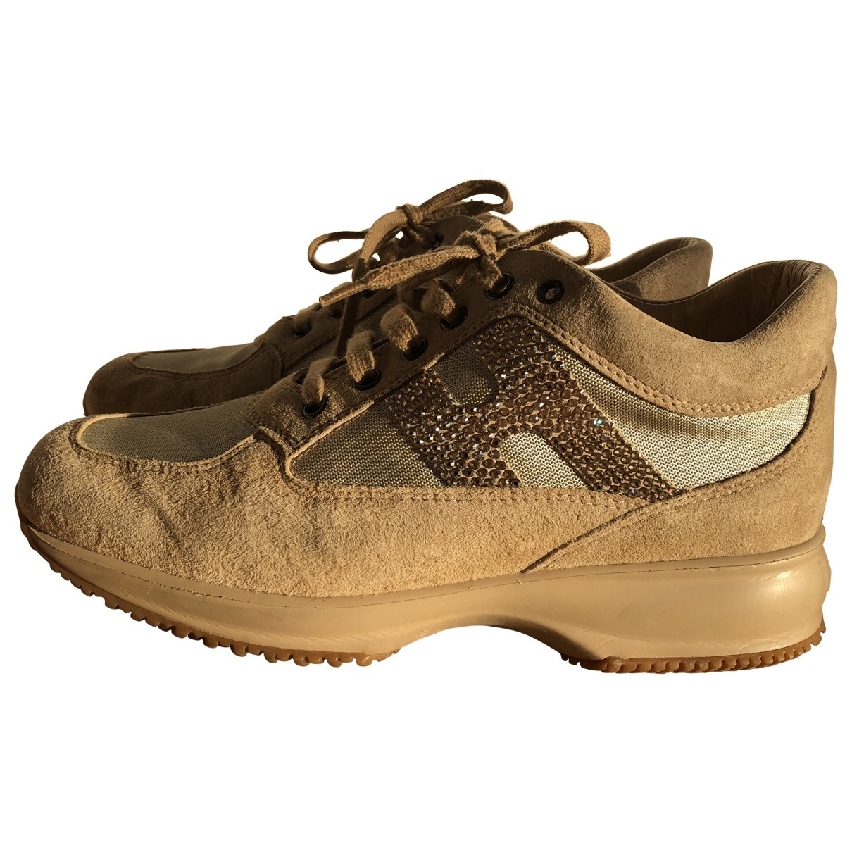 Hogan \N Beige Leather Trainers for Women 38.5 EU