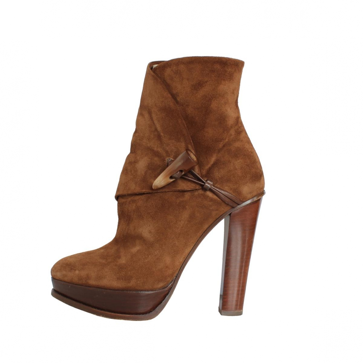 Ralph Lauren \N Brown Leather Ankle boots for Women 38 EU