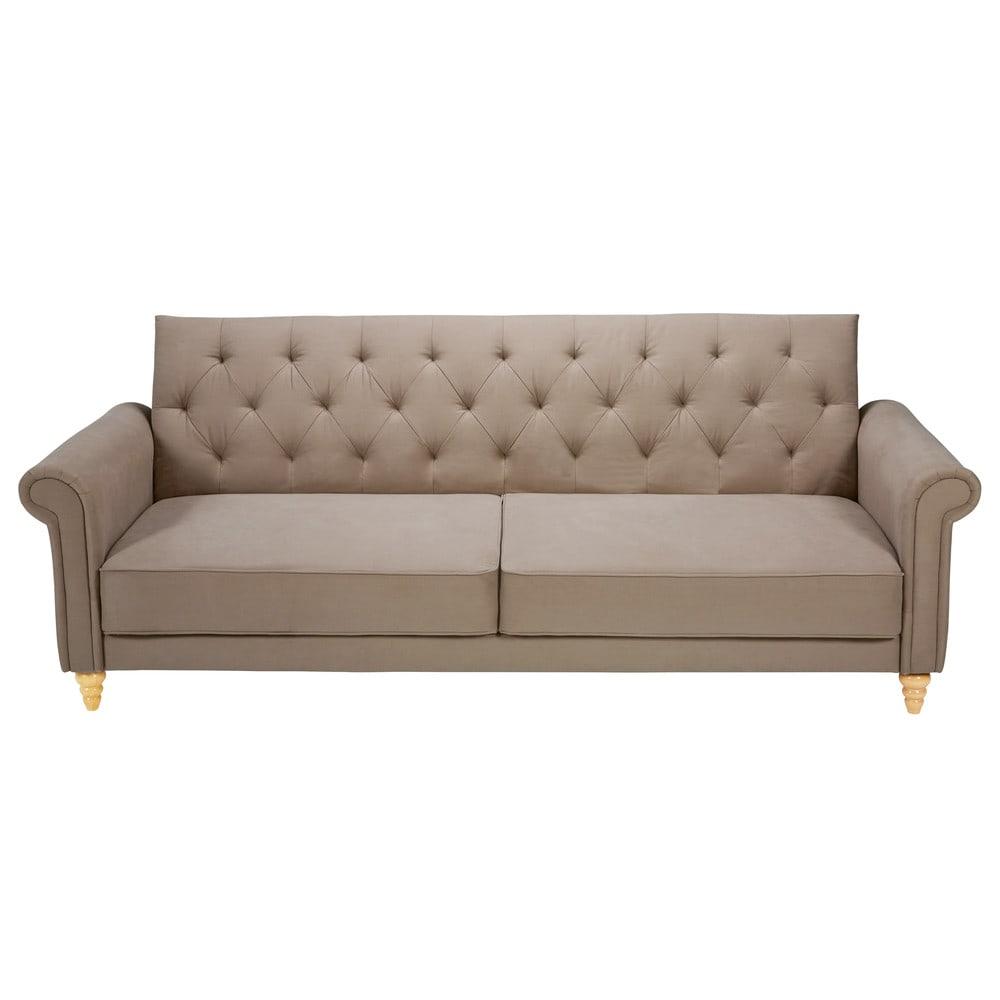Ausziehbares 3-Sitzer-Sofa mit Capitonne-Steppung, taupe Lise