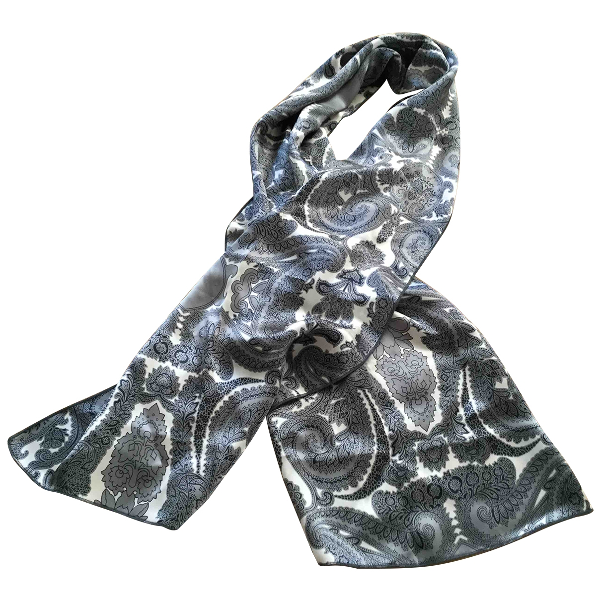 Non Signé / Unsigned \N Grey Silk scarf for Women \N