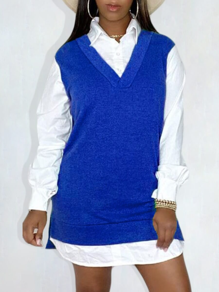 LW Lovely Casual V Neck Patchwork Blue Shirt Mini Dress