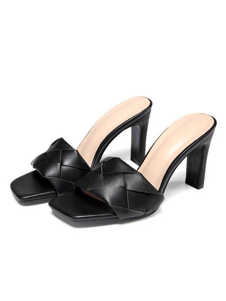 Milanoo Sandalias de mujer Tacones altos Zapatos de cuero de PU de punto negro