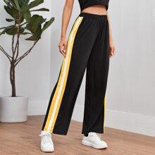 Contrast Sideseam Wide Leg Sports Pants